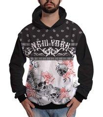 moletom di nuevo caveira floral new york colorida skull preto