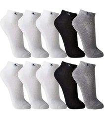 kit 10 pares meias masculina lupo soquete cano curto algodã£o - branco - masculino - dafiti