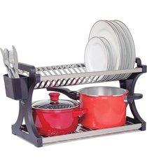 escorredor de pratos domum em inox capacidade para 20 pratos preto