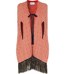 gucci wool gg logo glitter fringe cape - red