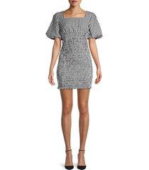 lea & viola women's gingham puff-sleeve dress - gingham - size xs