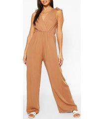 woven tie shoulder jumpsuit, camel
