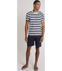 pijama masculino listrado manga curta azul marinho