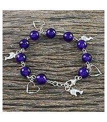 quartz beaded charm bracelet, 'dolphin love' (thailand)