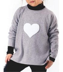 sweater heart casual gris going merry