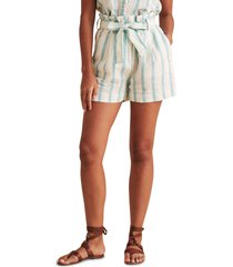women's faherty cypress belted paperbag waist stripe linen shorts, size x-small - blue/green