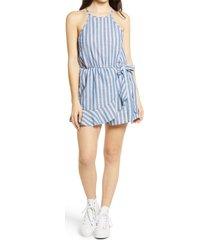 women's speechless stripe sleeveless romper, size small - blue