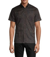 billy reid men's tuscumbia standard-fit print shirt - black wire - size m