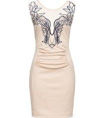 abito elasticizzato con rete e ricamo (beige) - bodyflirt boutique