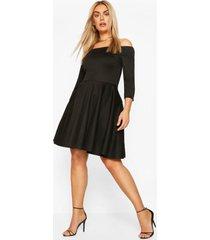 plus skater jurk met driekwartsmouwen, black