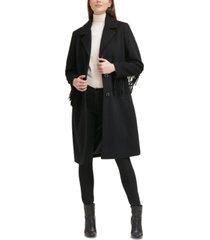 kenneth cole single-breasted fringe walker coat