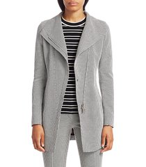 akris punto women's long houndstooth jacket - black cream - size 16