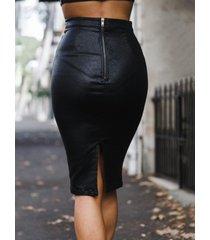 falda de talle alto de piel sintética con cremallera en la parte delantera