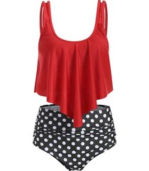 u neck striped overlay tankini set
