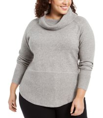 belldini plus size cowl-neck mixed-stitch sweater
