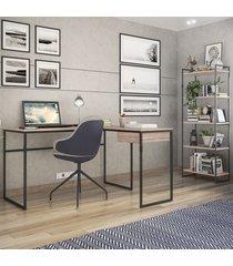 escritório completo 1 gaveta carvalho/preto 2080 - brastubo