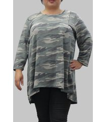 coin 1804 women's plus size camouflage 3/4 sleeve button pleat front top