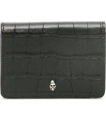 alexander mcqueen crocodile embossed bifold business card holder