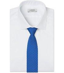 cravatta su misura, lanieri, perugia seta blu elettrico, quattro stagioni | lanieri