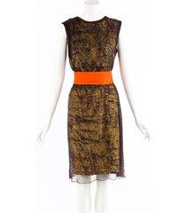 bottega veneta black green lace wool silk sleeveless dress black/green sz: s