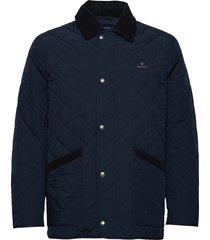 d1. quilted barn jacket doorgestikte jas blauw gant