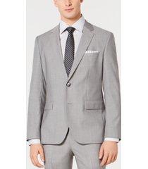 hugo men's slim-fit light gray tonal grid suit jacket