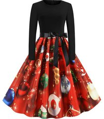 christmas belted party dress