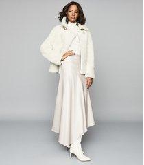 reiss harley - asymmetric satin skirt in gold, womens, size 0