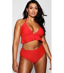 plus bikini met geplooide underbuste en hoge taille, red