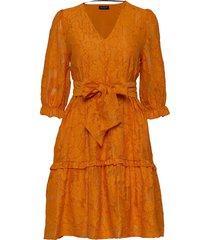 slfsadie v neck 3/4 short dress ex korte jurk oranje selected femme