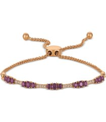 le vian amethyst (7/8 ct. t.w.) & nude diamond (1/10 ct. t.w.) bolo bracelet in 14k rose gold