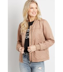 maurices womens solid quilted bomber jacket beige