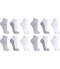 kit 12 pares meias lupo cano curto plus esportiva - multicolorido - dafiti