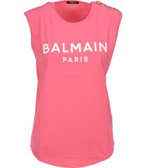 balmain 3 btn printed logo tank top