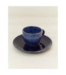 amaro feminino jogo 6 peças xícara de café blueberry, azul escuro