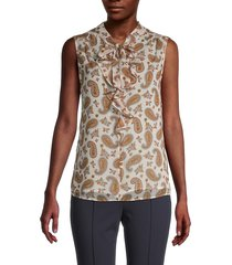tommy hilfiger women's paisley-print sleeveless top - ecru combo - size s
