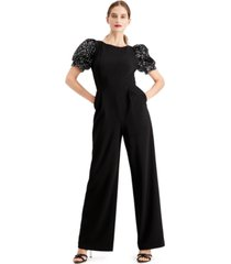 calvin klein sequined puff-sleeve jumpsuit