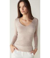 maglia in lana e seta con bordi