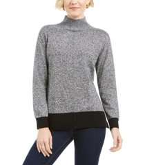 karen scott erin cotton colorblocked mock-neck sweater, created for macy's