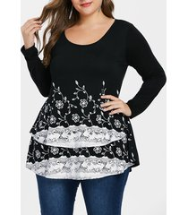 plus size floral high low t-shirt