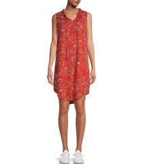 bobeau women's tassel-tie floral dress - red - size xs