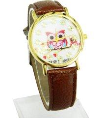 reloj pulsera café buho sasmon re- 25604