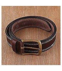 men's leather belt, 'classic espresso' (india)