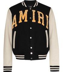 amiri logo-patch varsity jacket - black