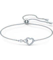 swarovski silver-tone crystal heart & infinity symbol slider bracelet