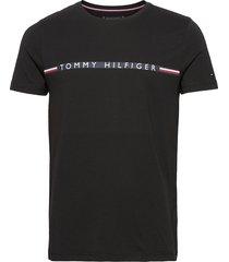 mini stripe tee t-shirts short-sleeved svart tommy hilfiger