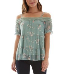bcx juniors' cold-shoulder mesh top