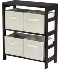 winsome capri 2-section m storage shelf with 4 foldable fabric baskets