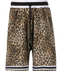 john elliott leopard-print mesh shorts - neutrals