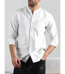 hombres moda breve manga larga cuello alto color sólido algodón casual camisa